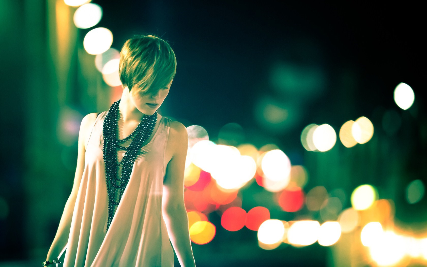 Beautiful Girl Night Lights Bokeh