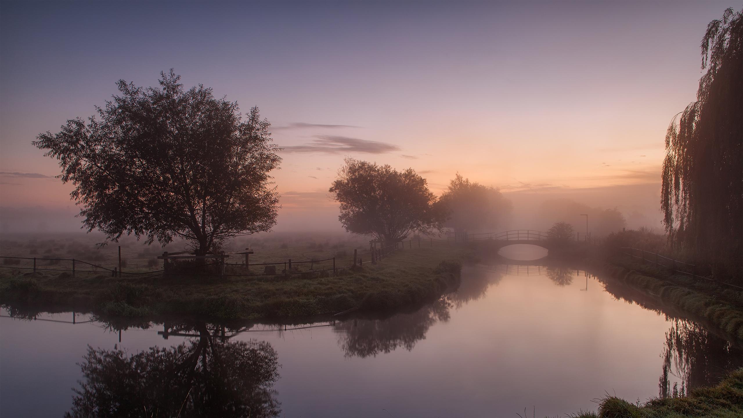 2560x1440 Wallpaper lake, mist, beautiful sky