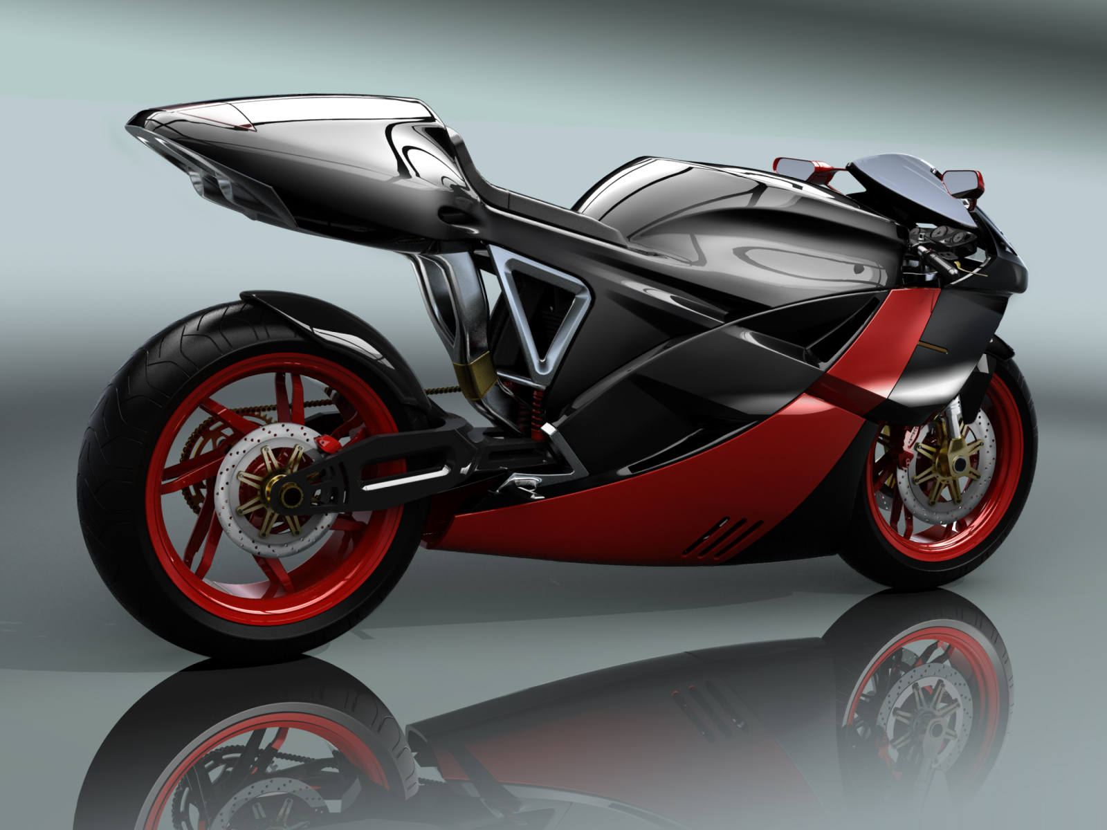 Beautiful black and red sports bike futuristic shapes wallpaper.