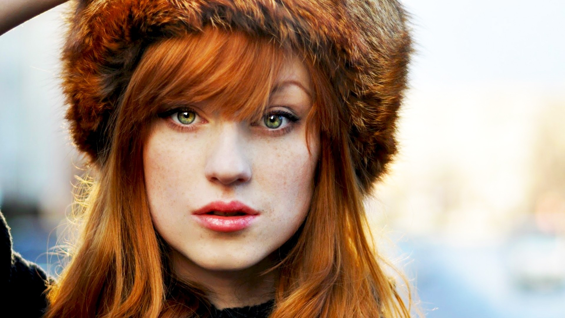 Beautiful Redhead Girl With Fur Hat
