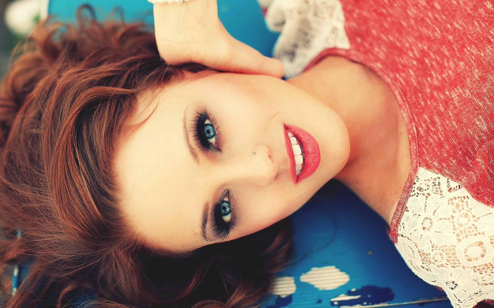 Beautiful Redhead Girl Blue Eyes Pink Lips Photo