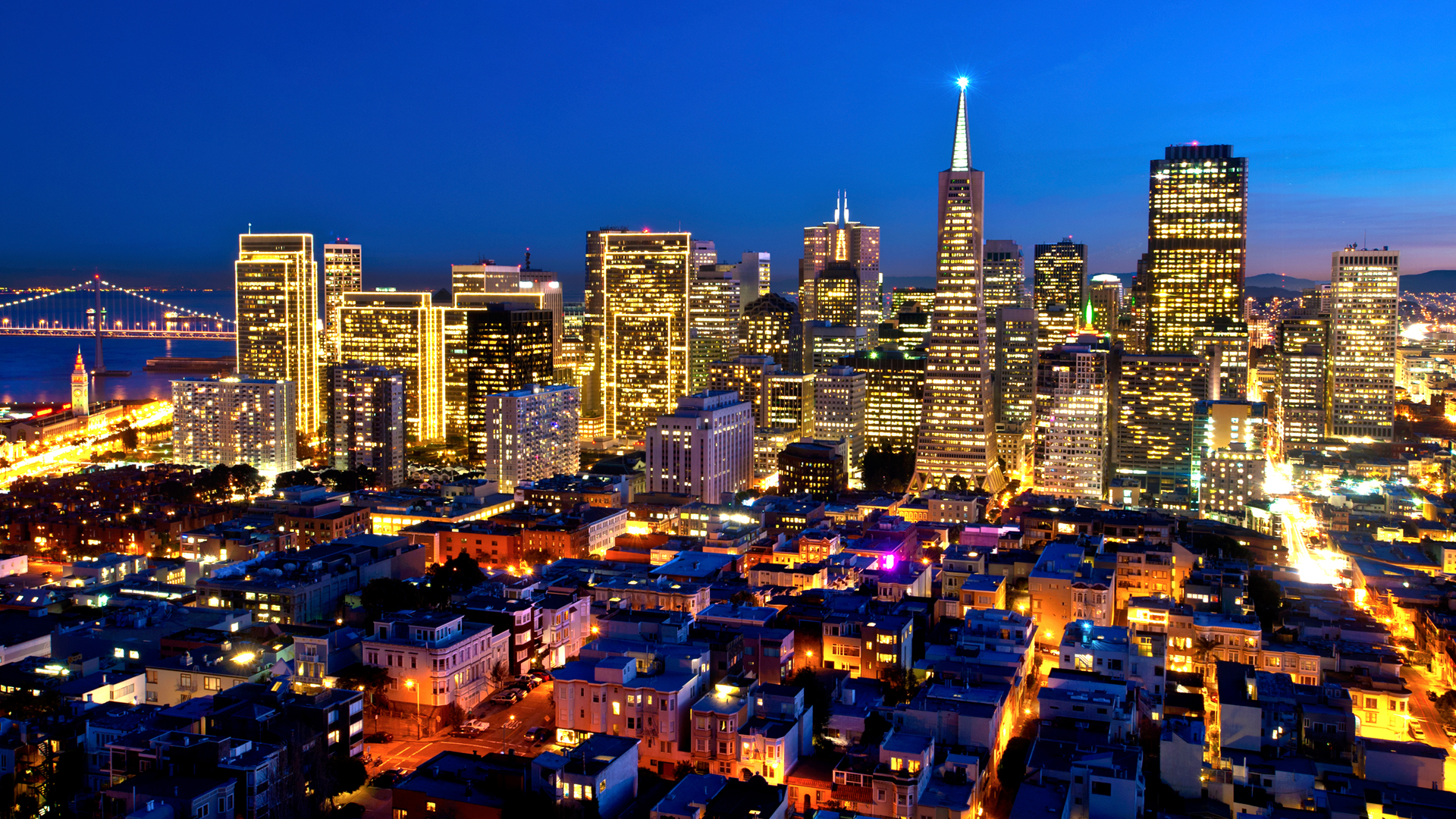 landscape beautiful san francisco at night wallpaper Wallpaper