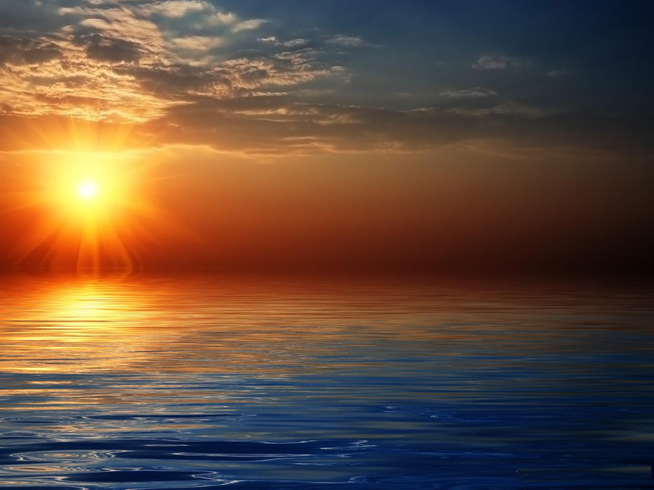 Right click to download Beautiful Sun Rise Over Sea Wallpaper
