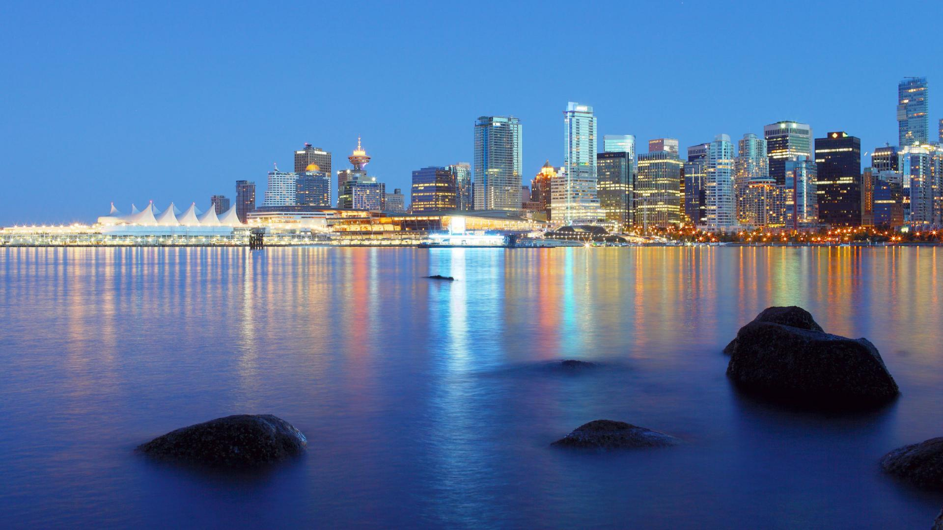 Hd Beautiful Cityscape in Lights Vancouver Wallpaper Download 1920x1080px