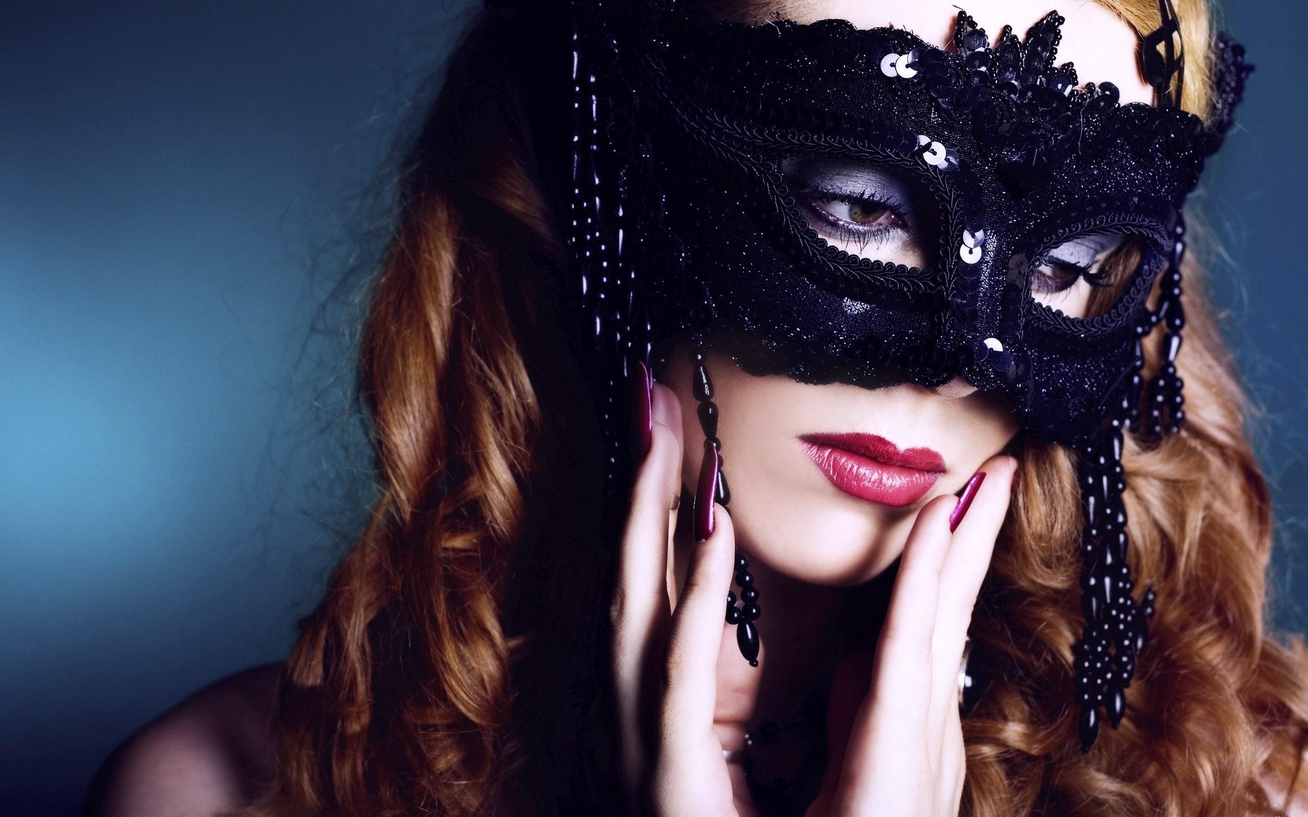 Beautiful Woman Black Mask