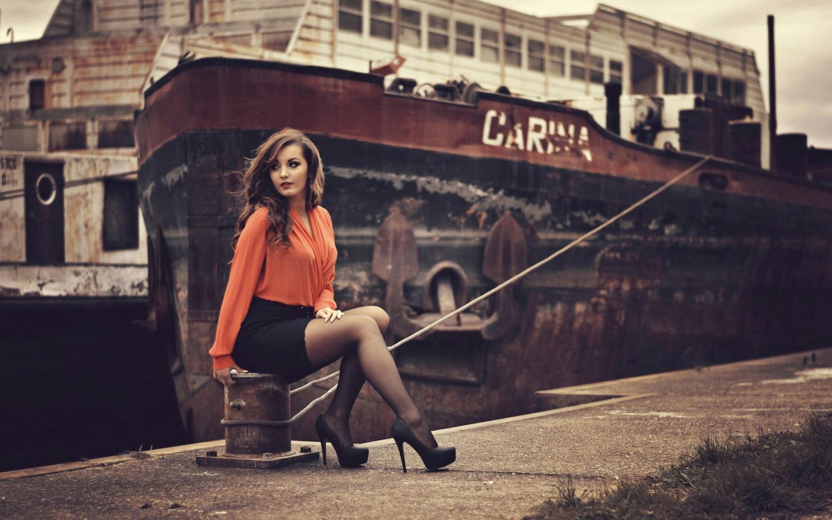 Beautiful Woman Dock Ship