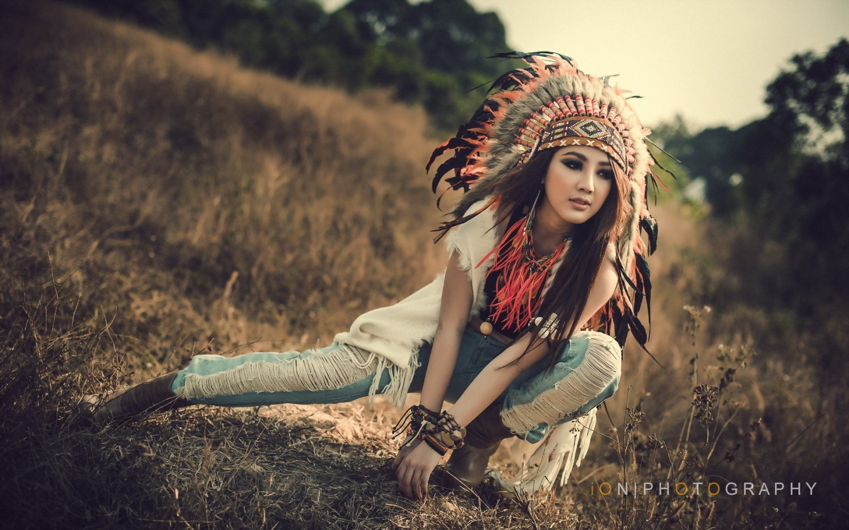 Beauty Asian Girl Model Headdress