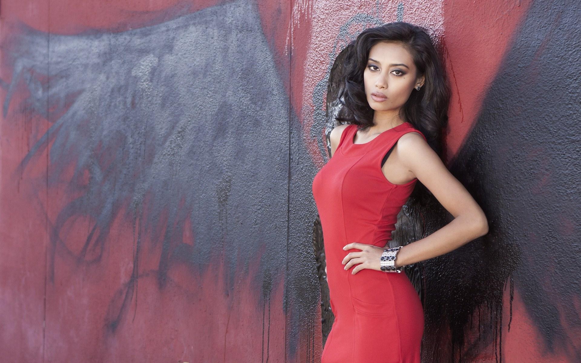 Beauty Brunette Red Dress Fashion