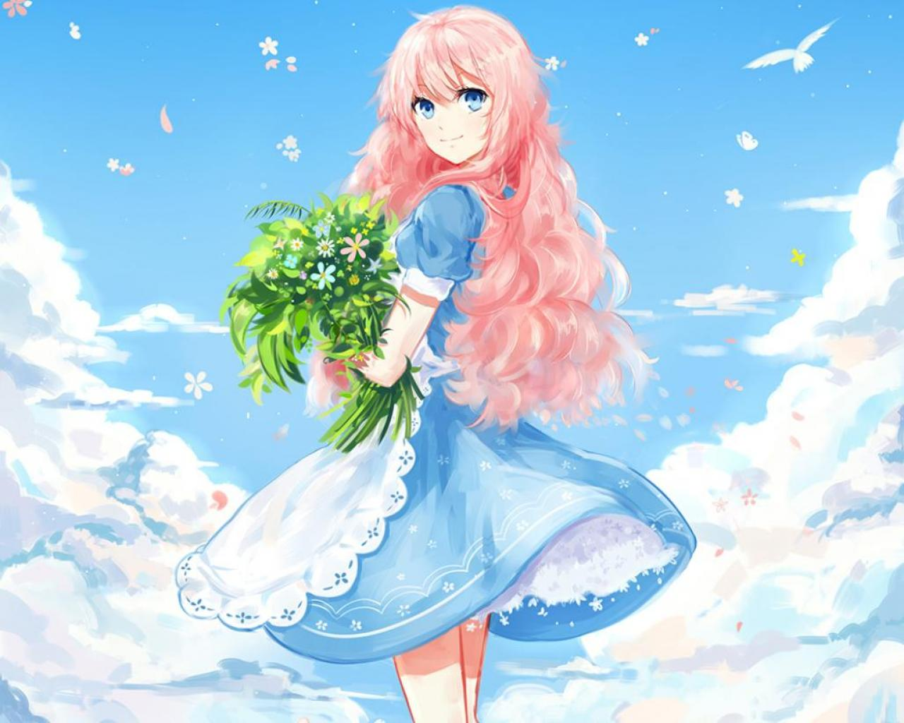Wallpaper Tags: sexy female anime lovely gown nice floral bird white beautiful dress bouquet blue pretty sweet petals beauty hot girl flower cute pink long ...