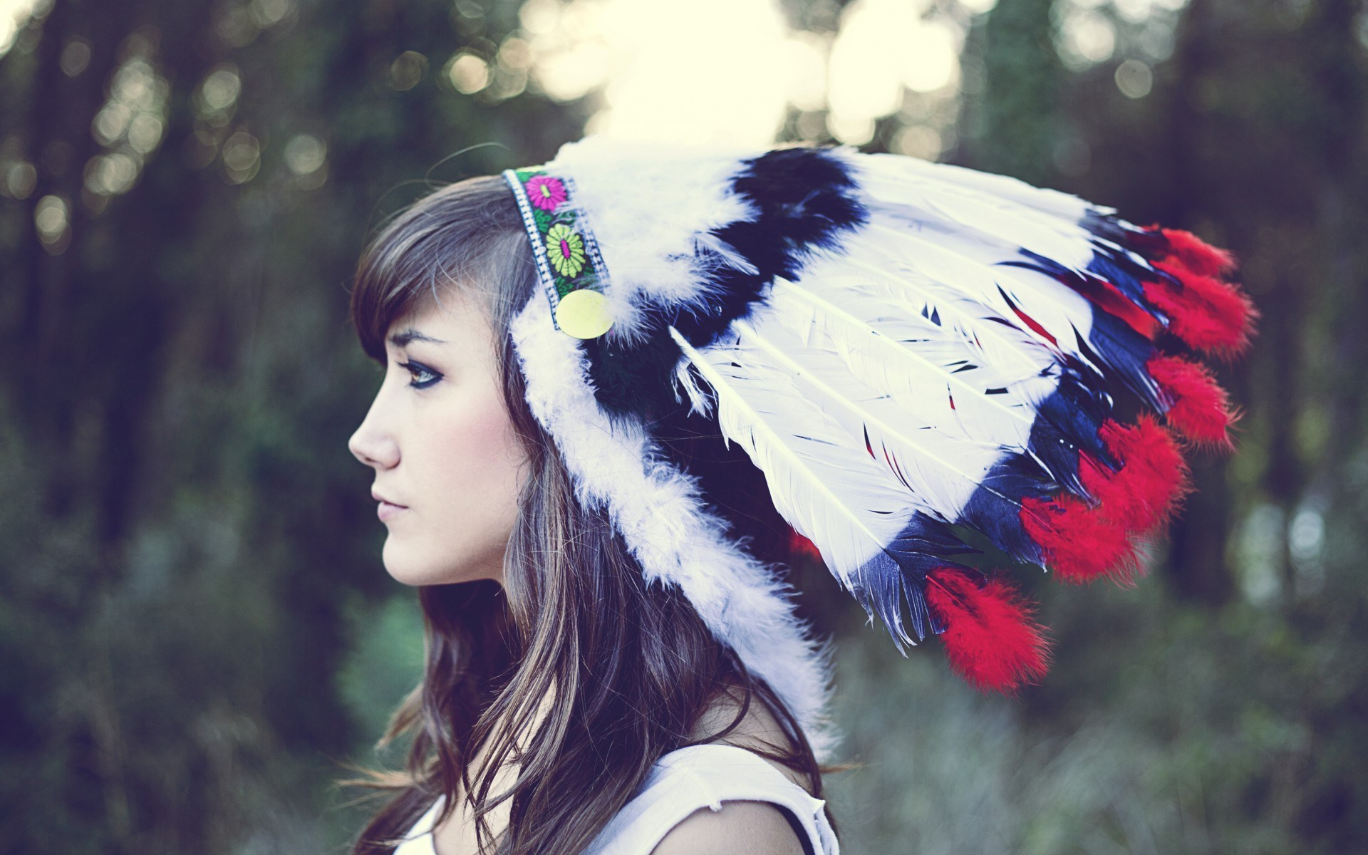 Beauty Girl Indian Headdress