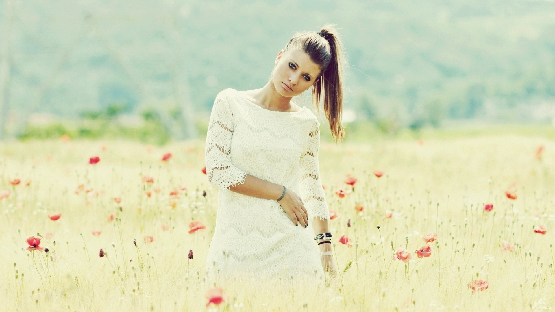Beauty Model Girl Field Poppies Photo