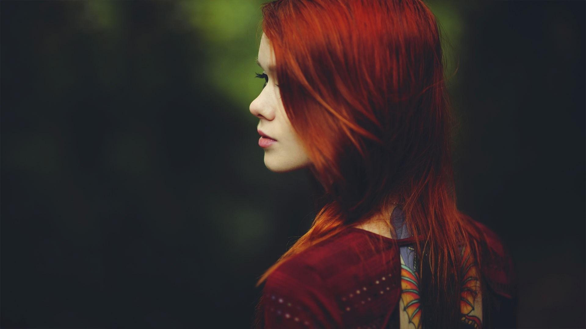 Beauty Redhead Girl Model Fashion Tattoo Photo