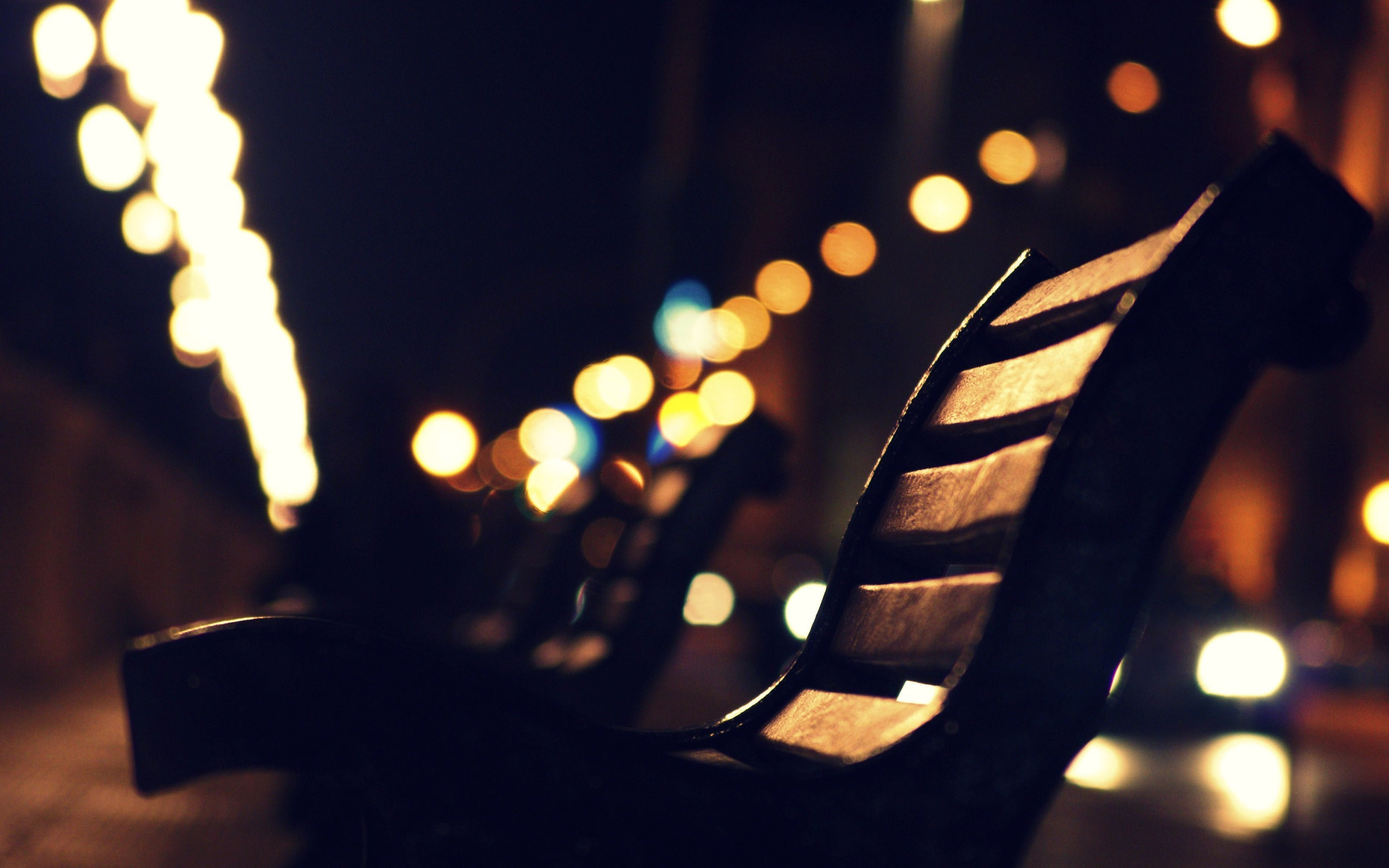 Bench City Street Night Lights Bokeh Photo
