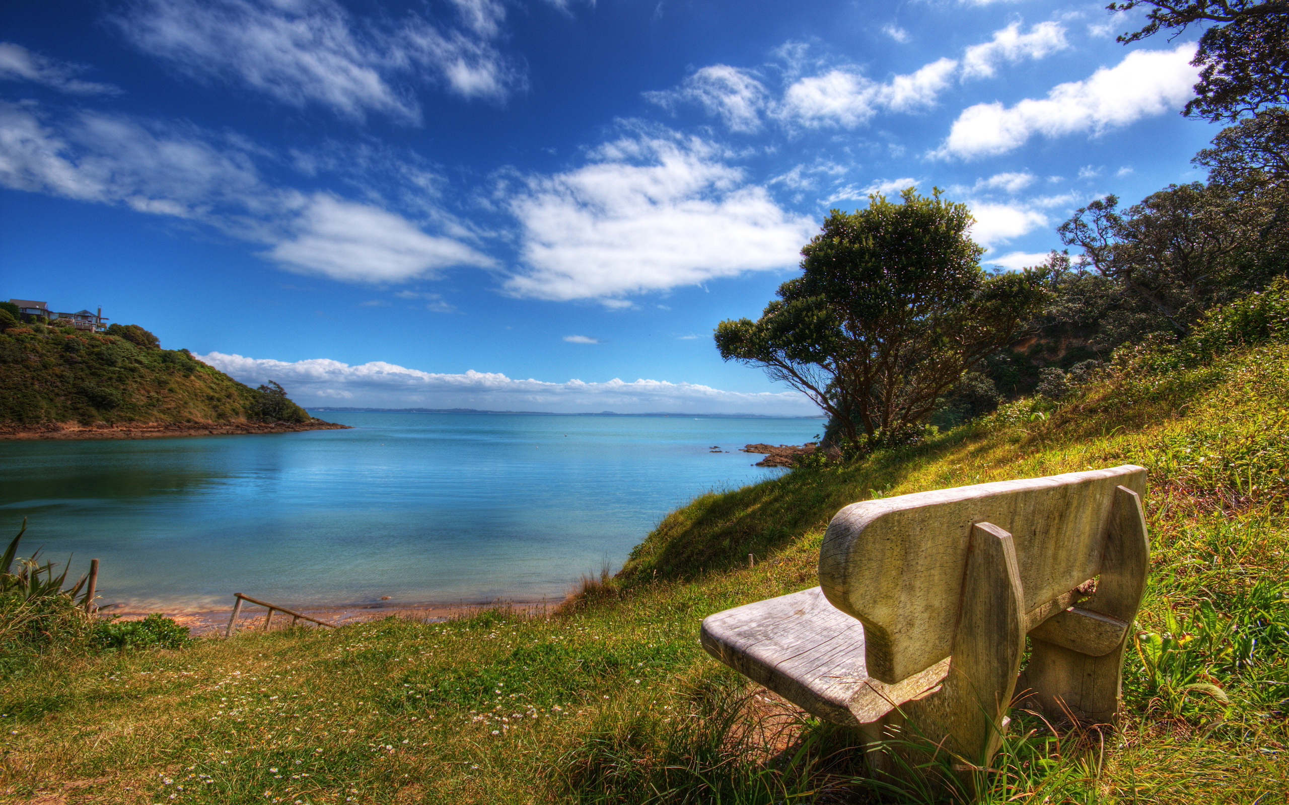 Bench lake shore