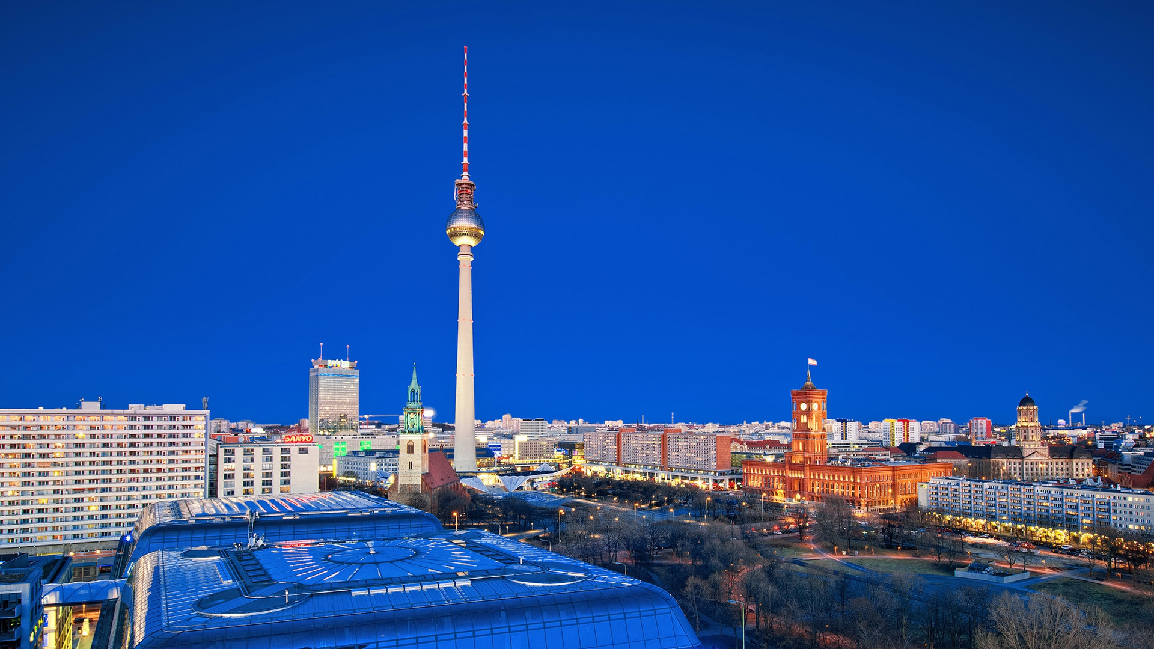 Preview wallpaper berlin, city, roads, houses, night 3840x2160