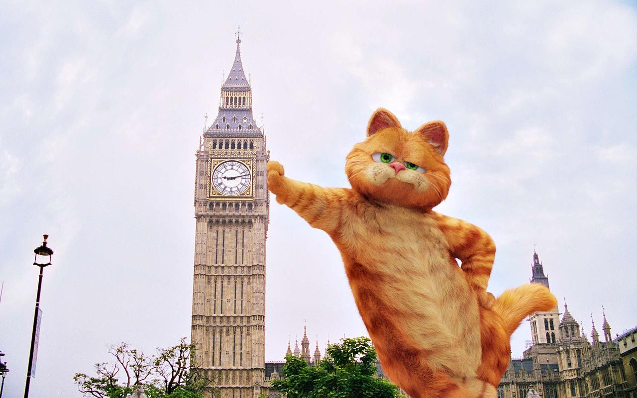 Garfield Leaning On Big Ben Wallpaper 1280x800