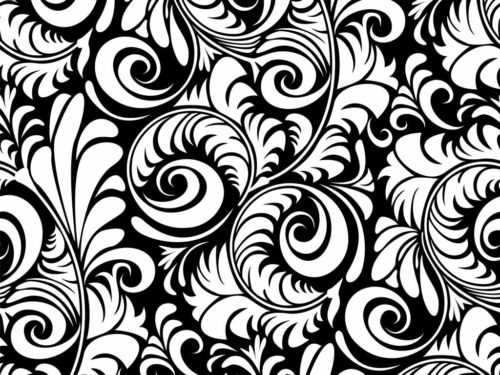 Black And White Floral Wallpaper 1024x768 57205