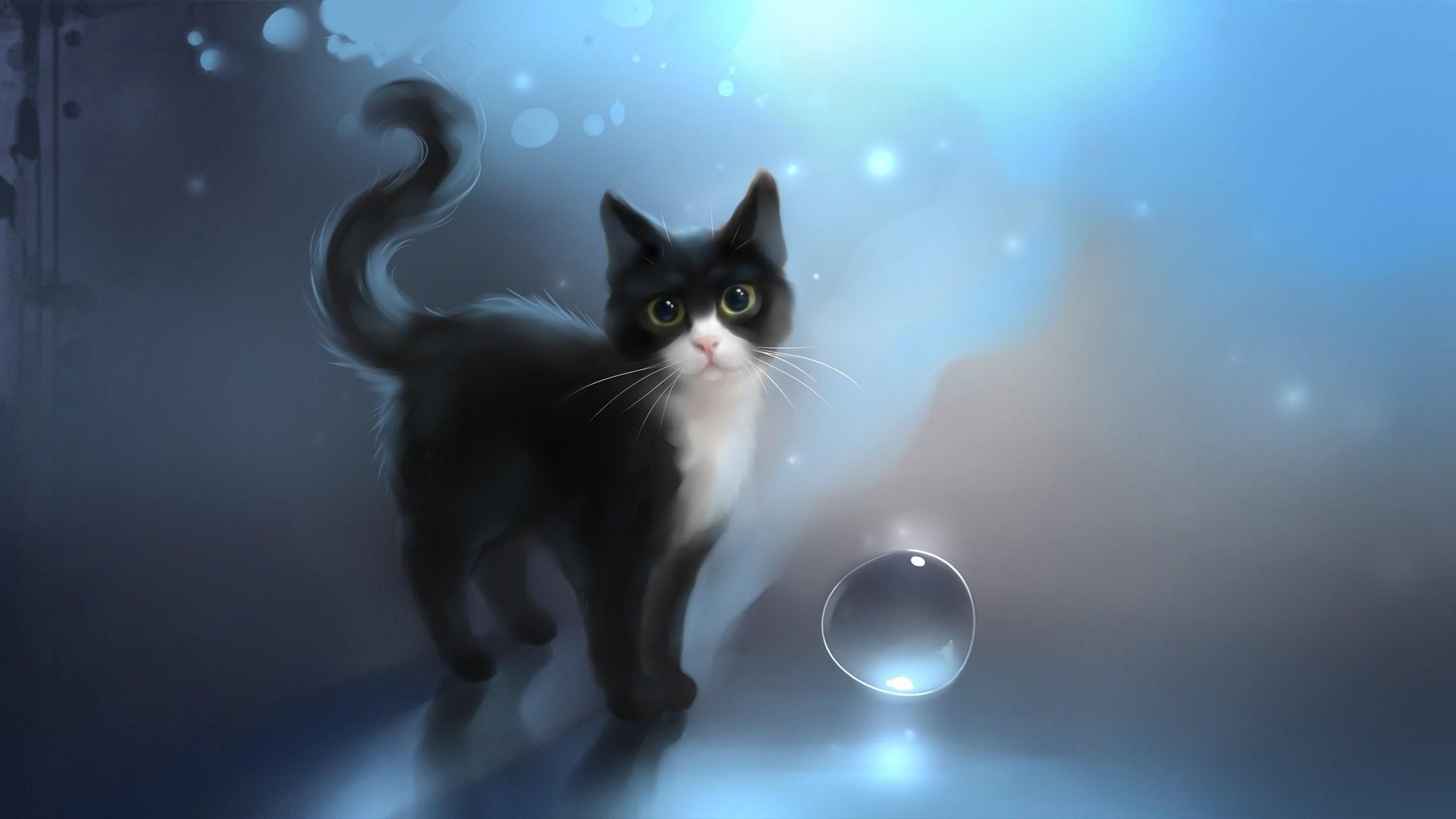 Black Cat Drawn Art
