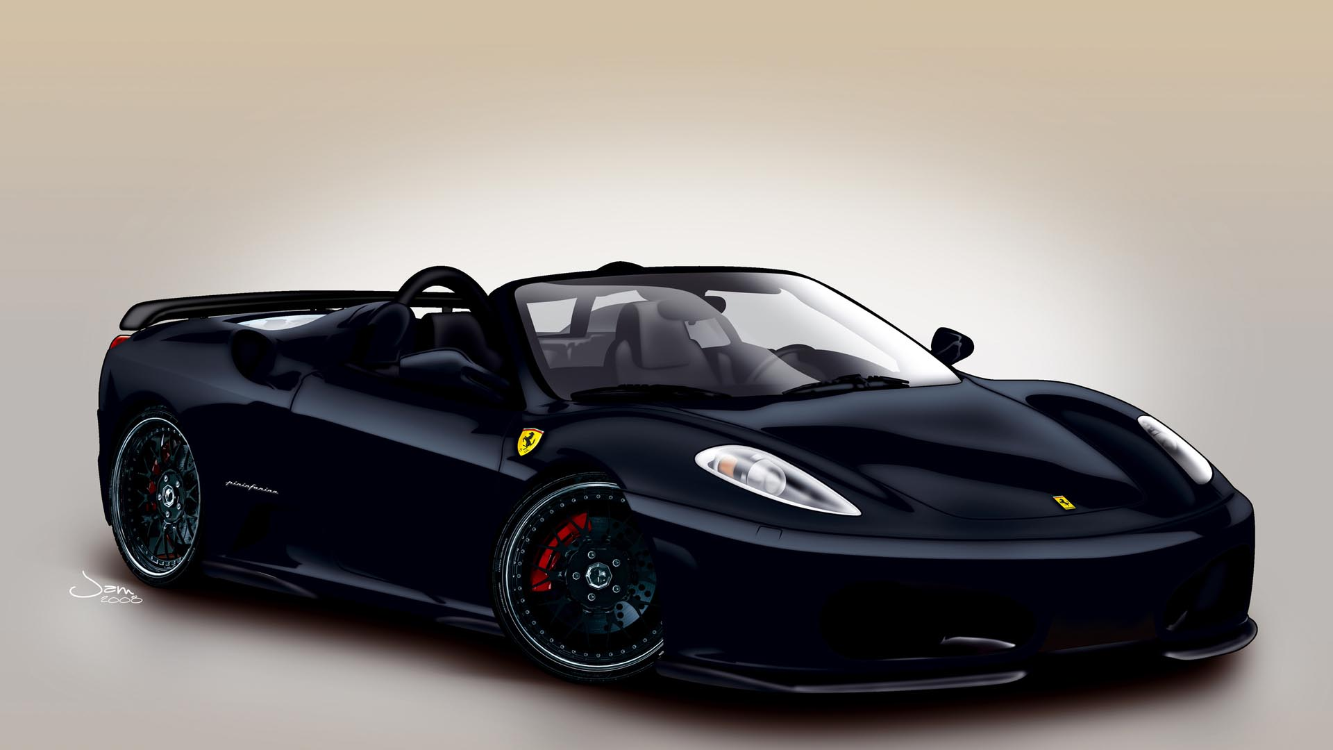Black Ferrari Wallpaper 08