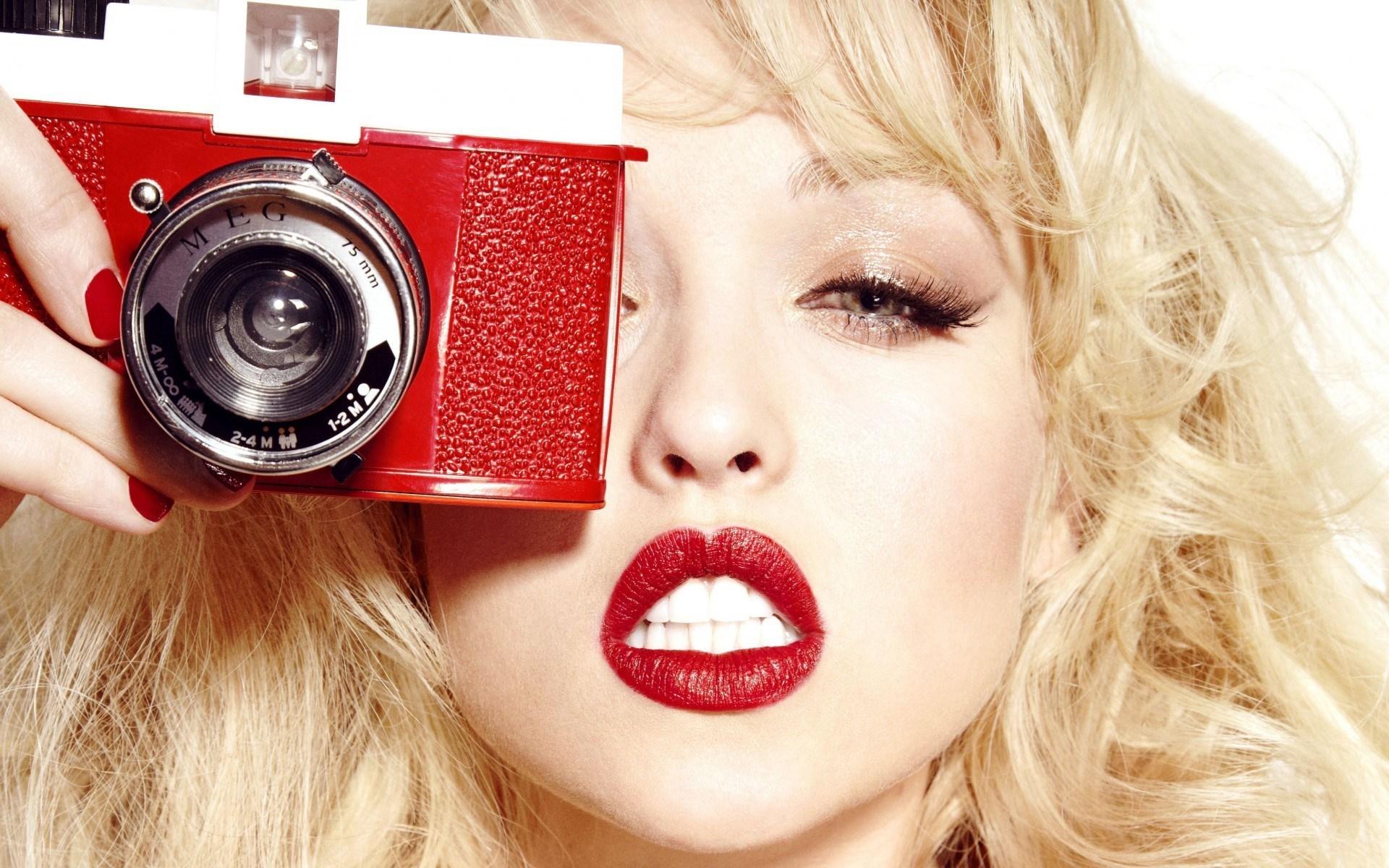 Blonde Actress Jorgie Porter Camera