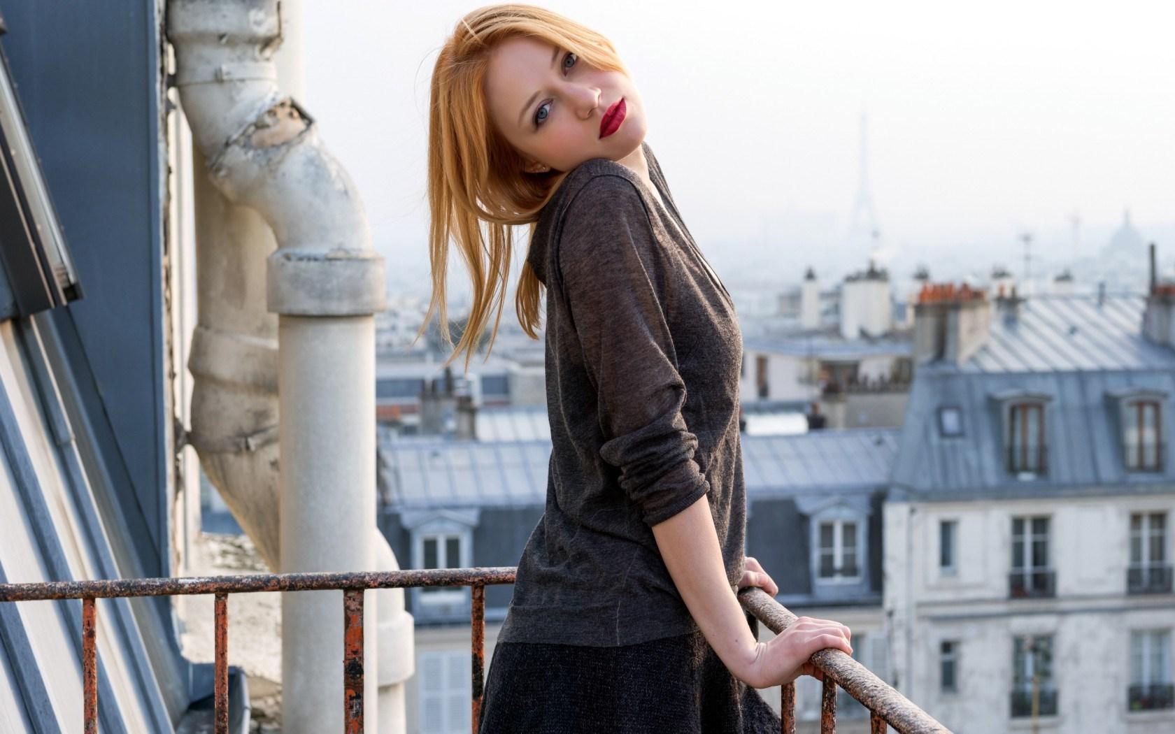 Blonde Girl Balcony Mood