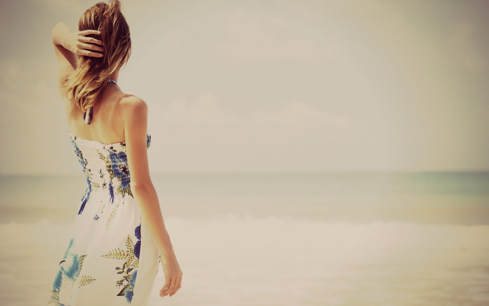 Blonde Girl Dress Sea Waves Beach