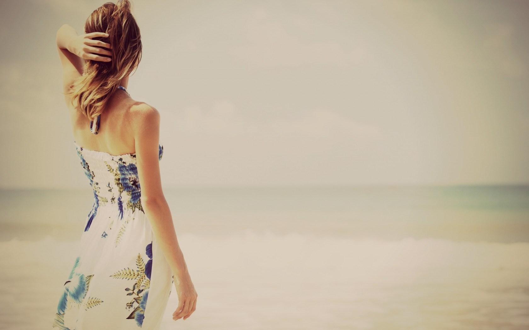 Blonde Girl Dress Sea Waves Beach