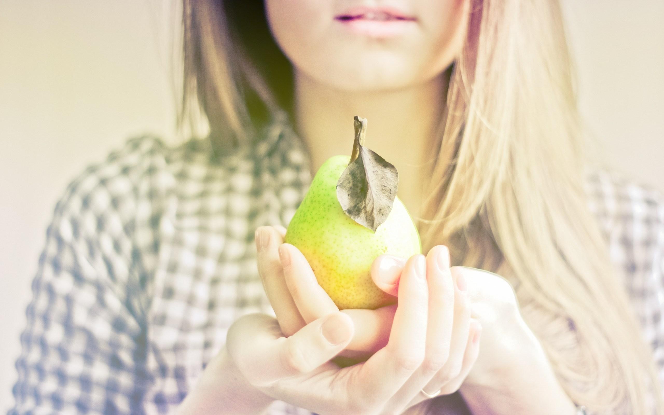 Blonde Girl Fruit Pear Mood