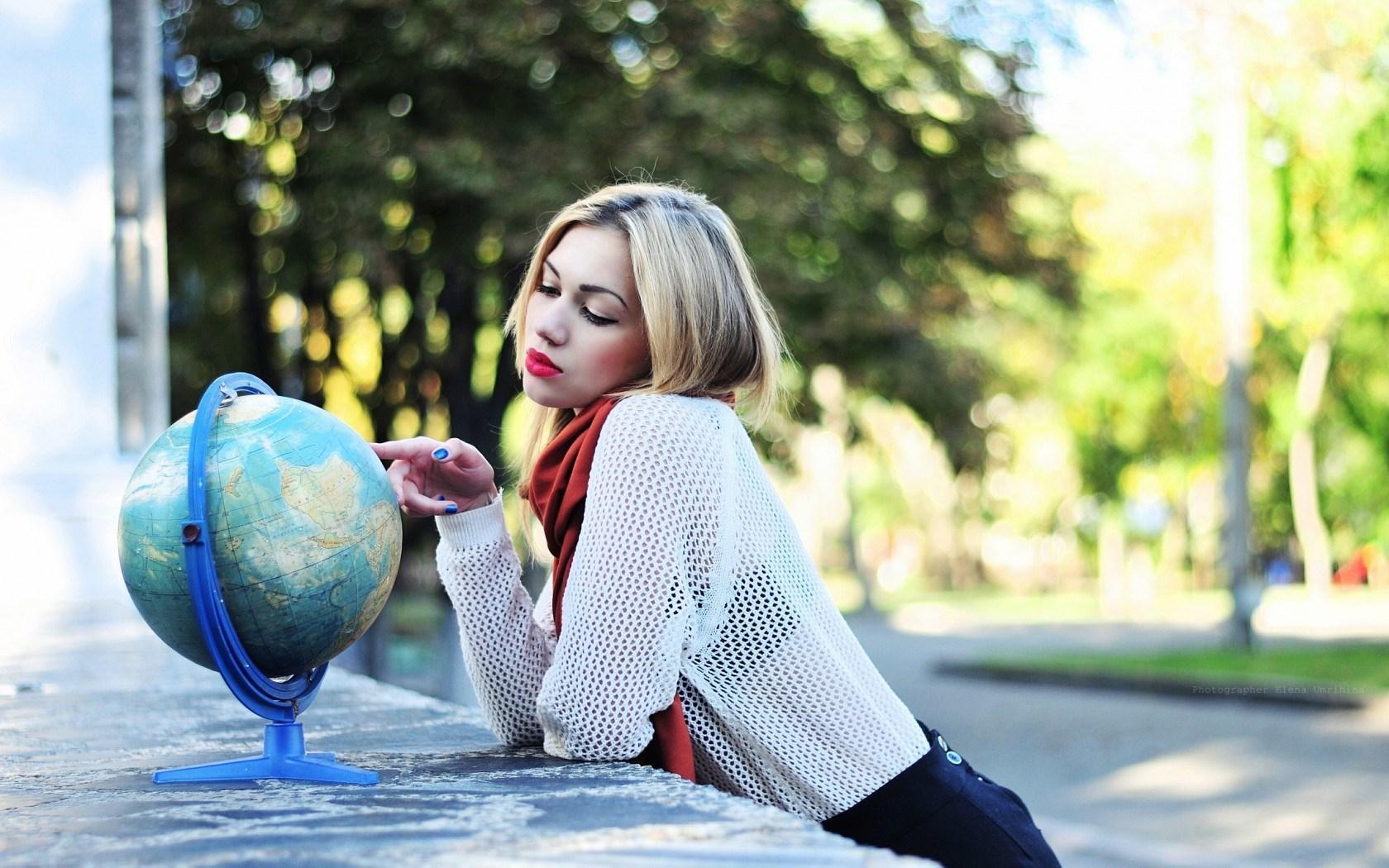 Blonde Girl Globe Earth Mood Bokeh