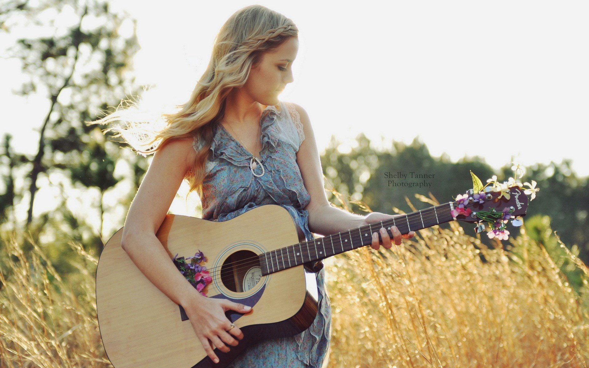 Blonde Girl Guitar Music Field