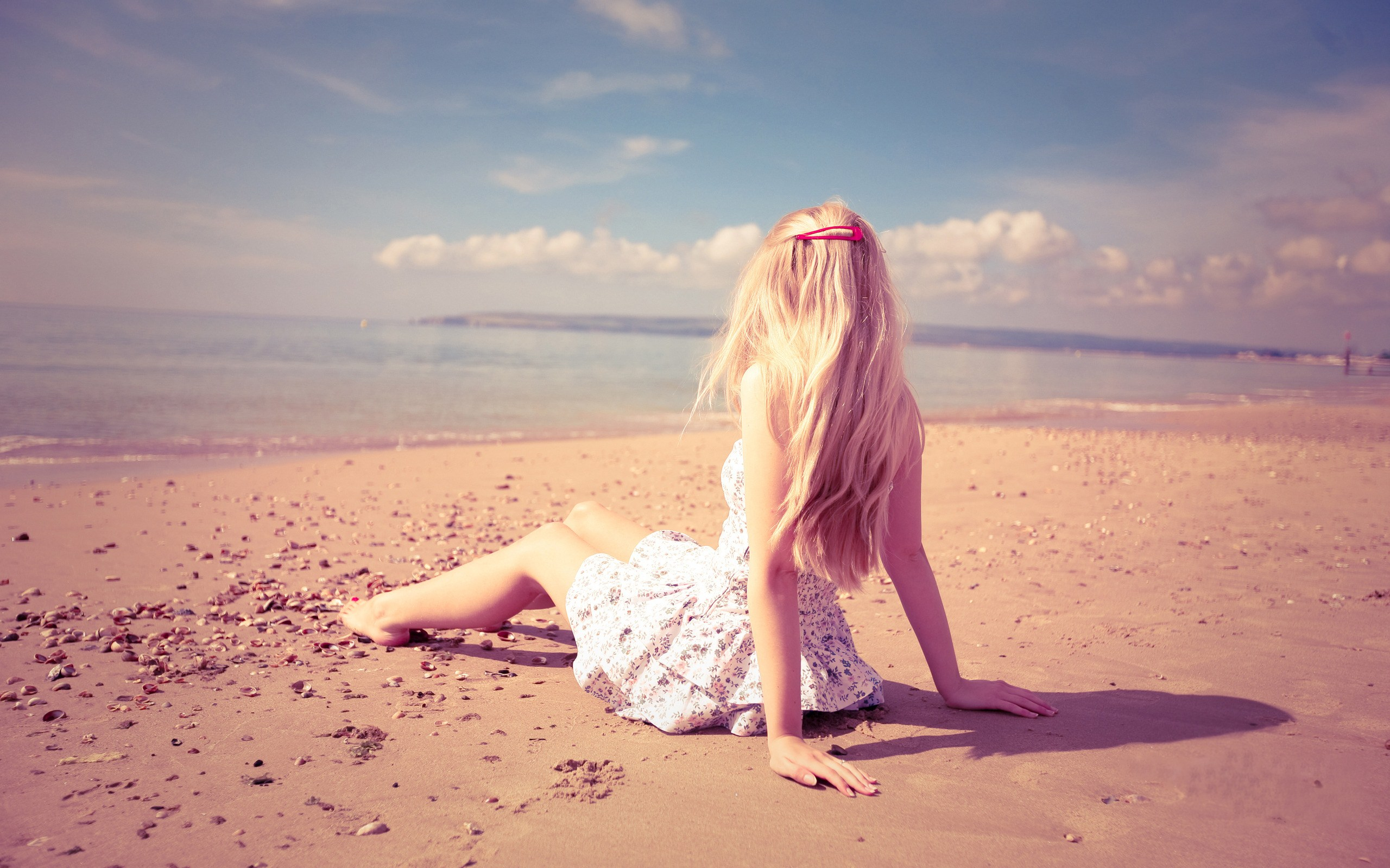 Blonde Girl Mood Beach