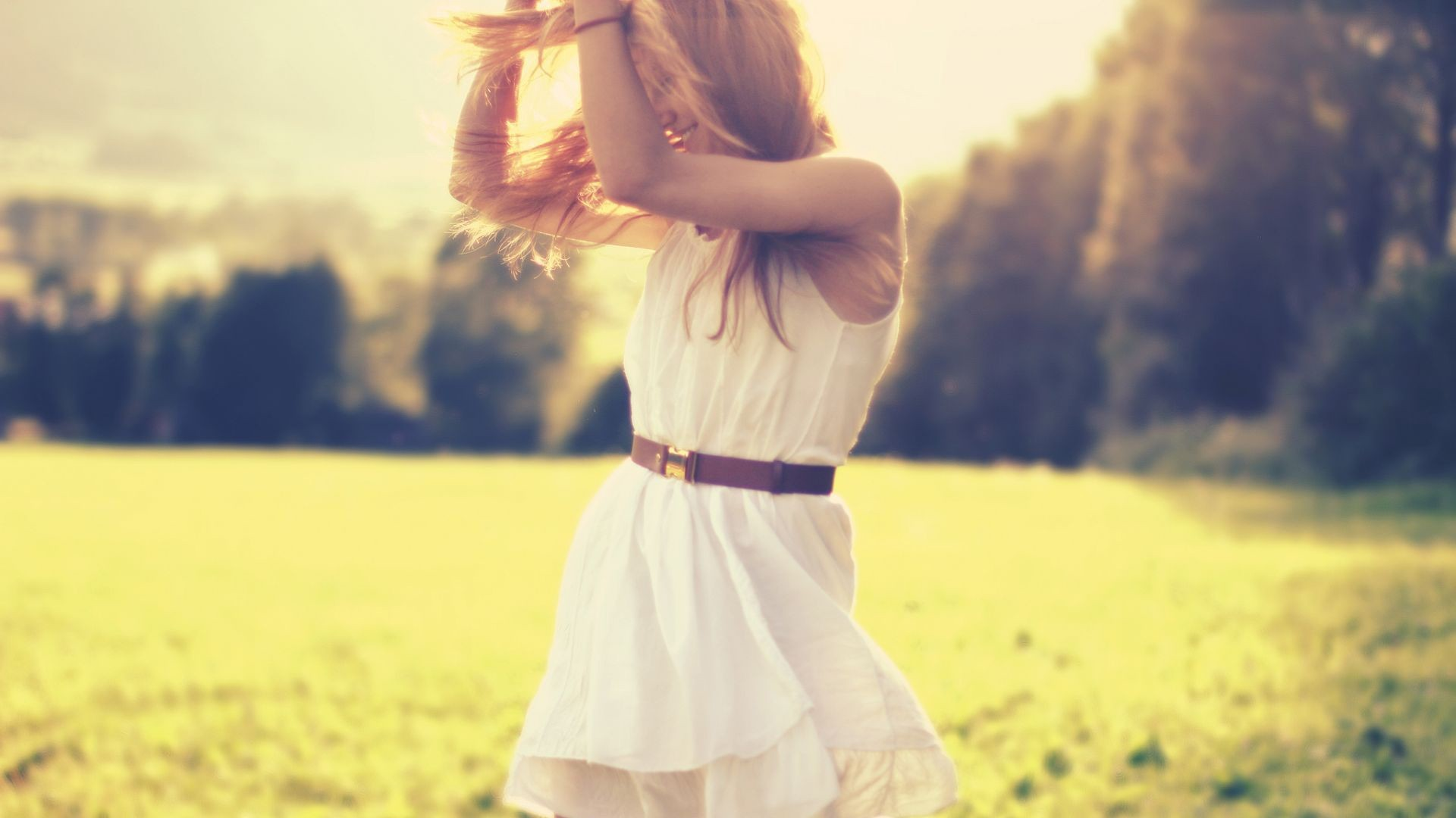 Mood, girl, blonde, alvte, belt, joy, happiness, positive, nature, grass, herbs, trees, sun