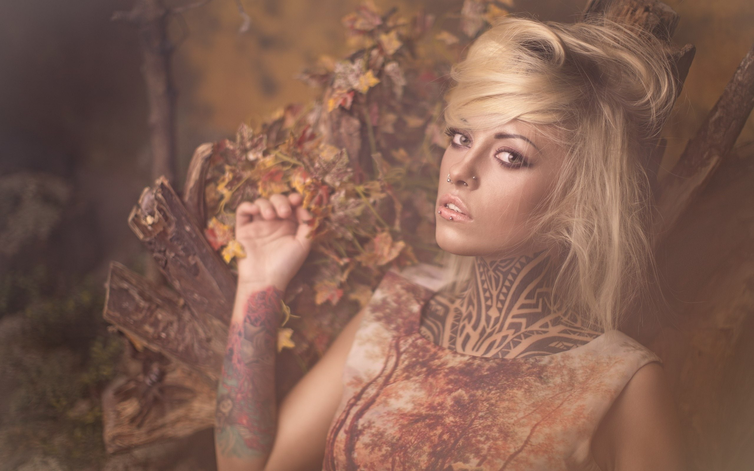 Beauty Blonde Girl with Piercings Tattoos Style Photo HD Wallpaper