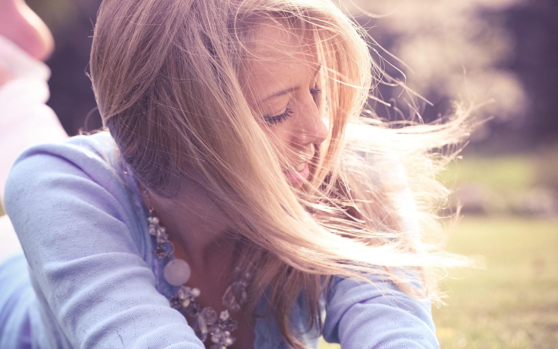 Blonde Girl Wind Photo