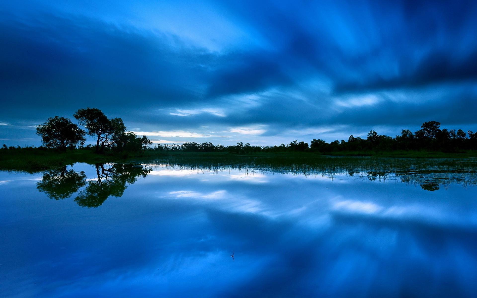 Blue evening lake