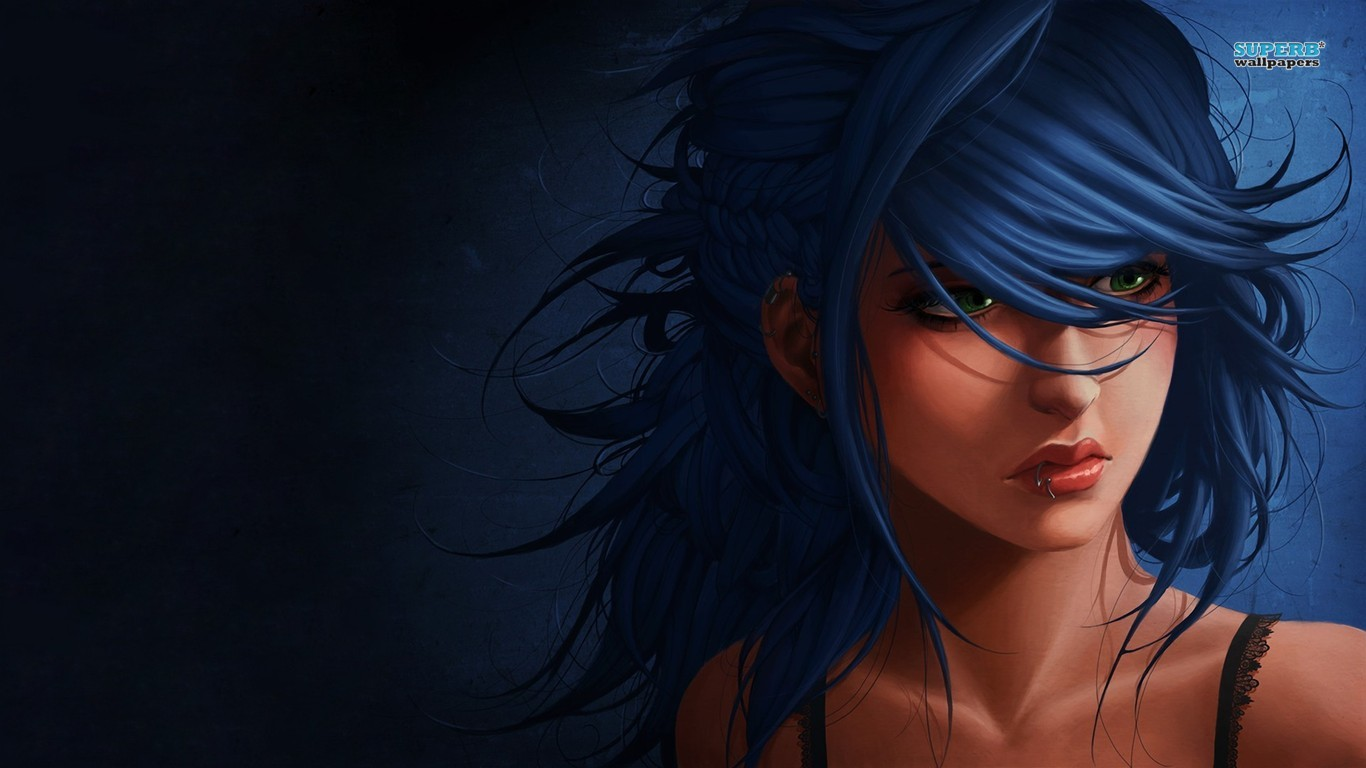 Girl with blue hair wallpaper 1366x768
