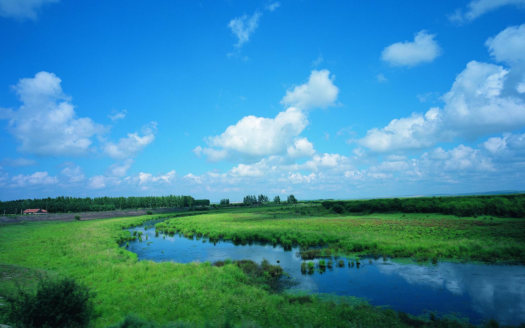 Blue landscape scenery
