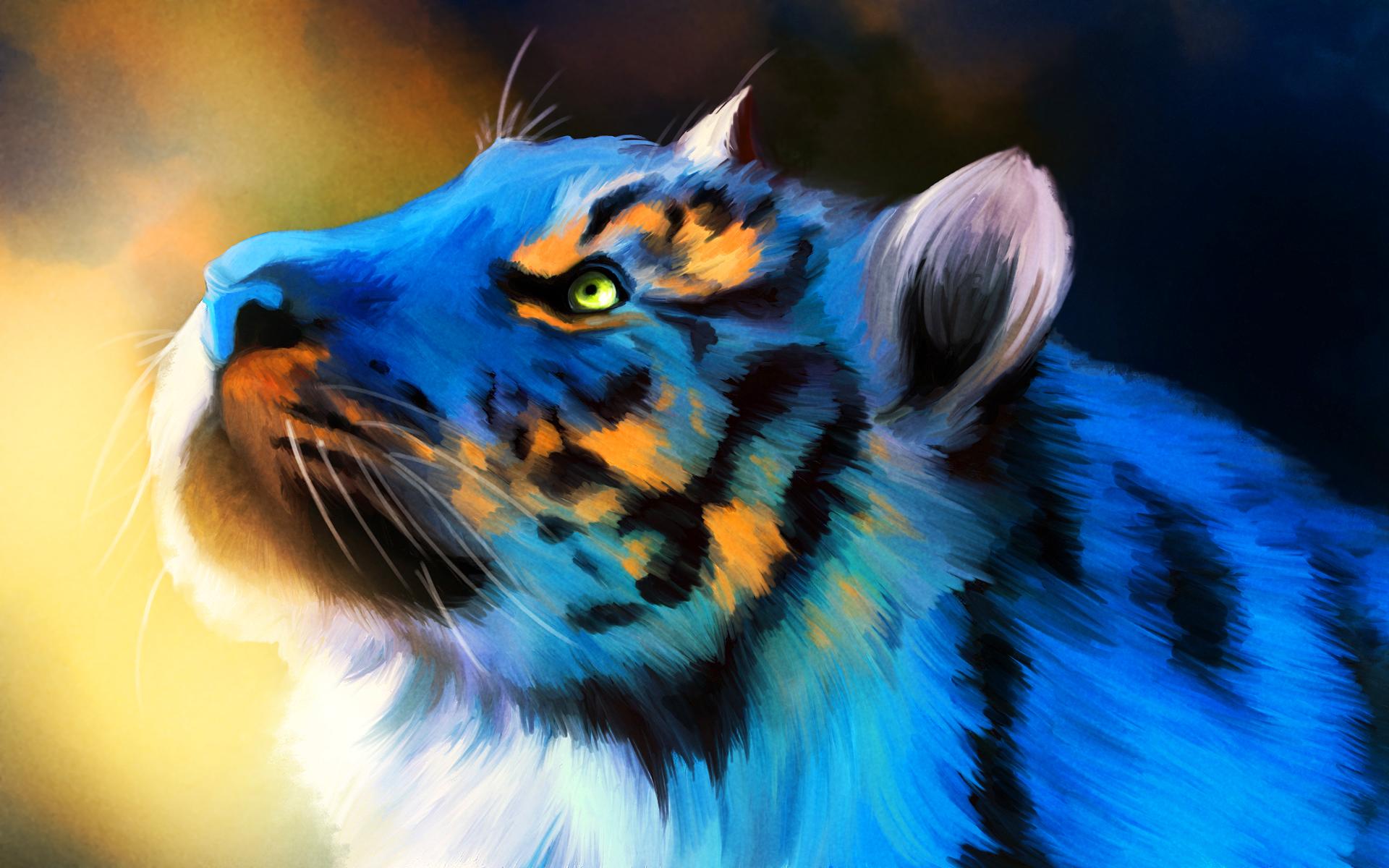 Blue tiger art