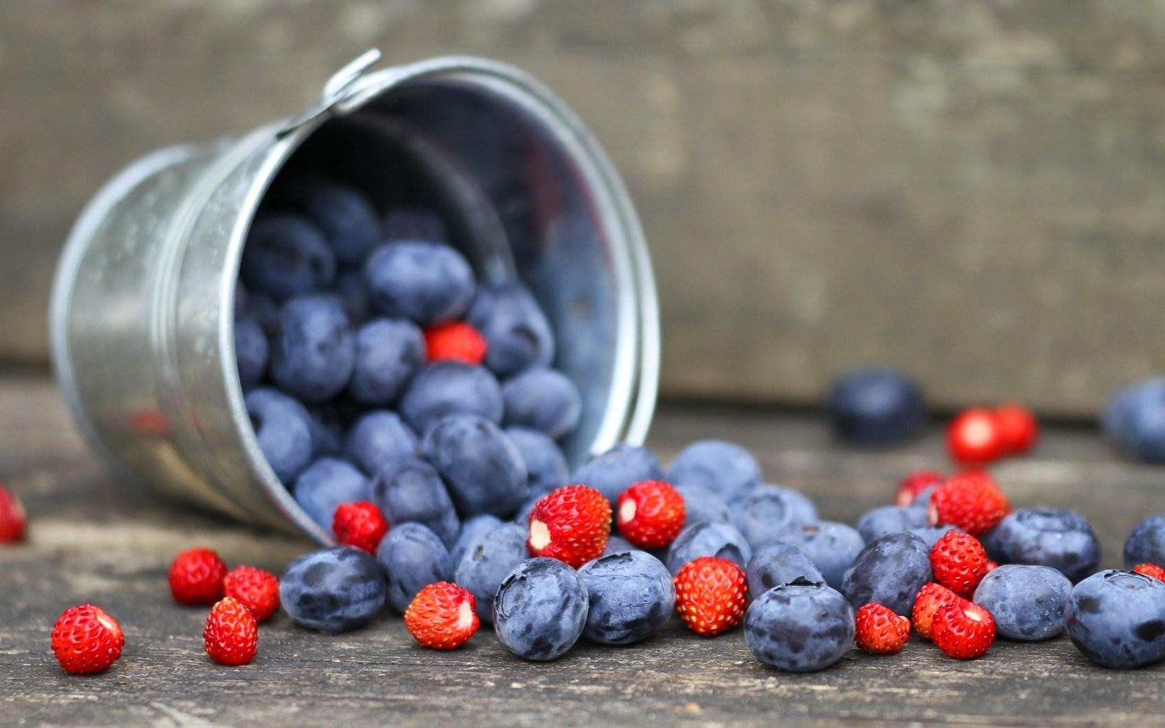 Blueberries Strawberries Berries Bucket