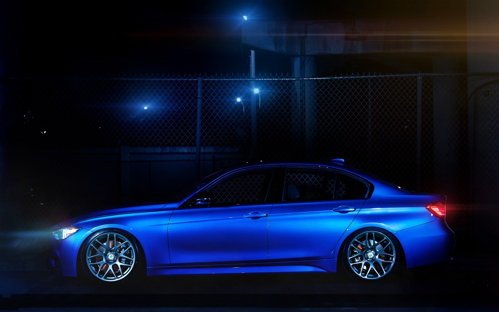 BMW 335i F30 Car Blue Side Night