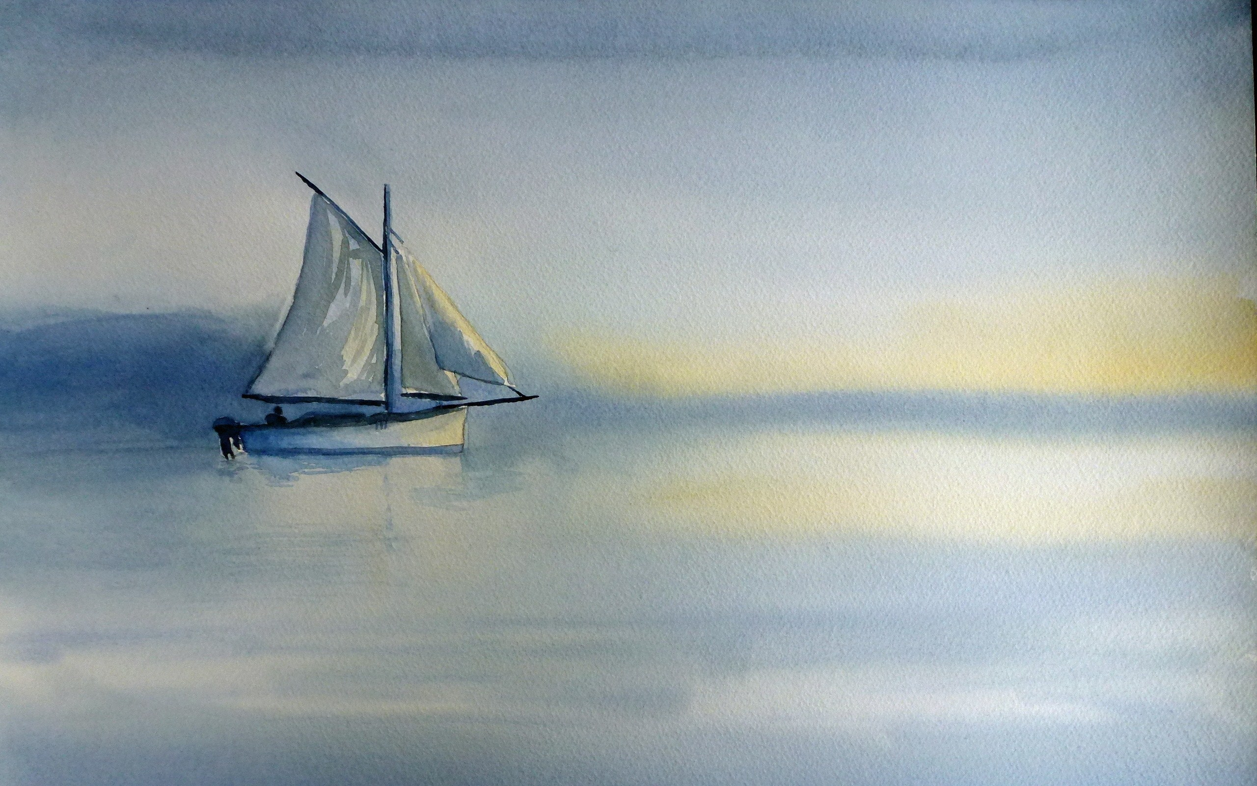 Boat Sea Landscape Painting