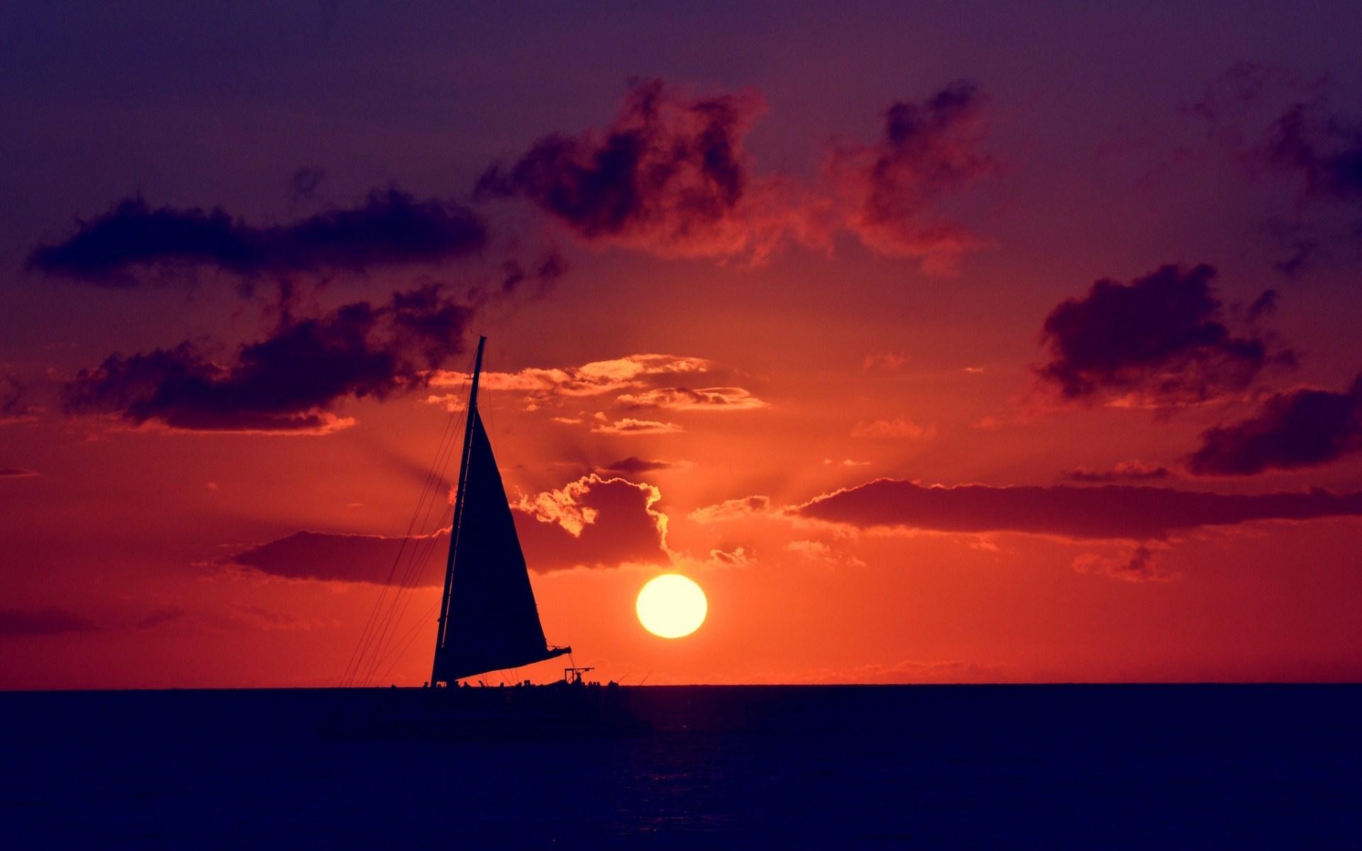 Boat Sea Sun Clouds Sky Photo