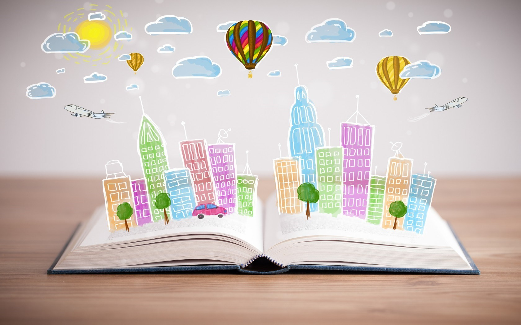Book City Buildings Trees Cars Airplane Clouds Sun