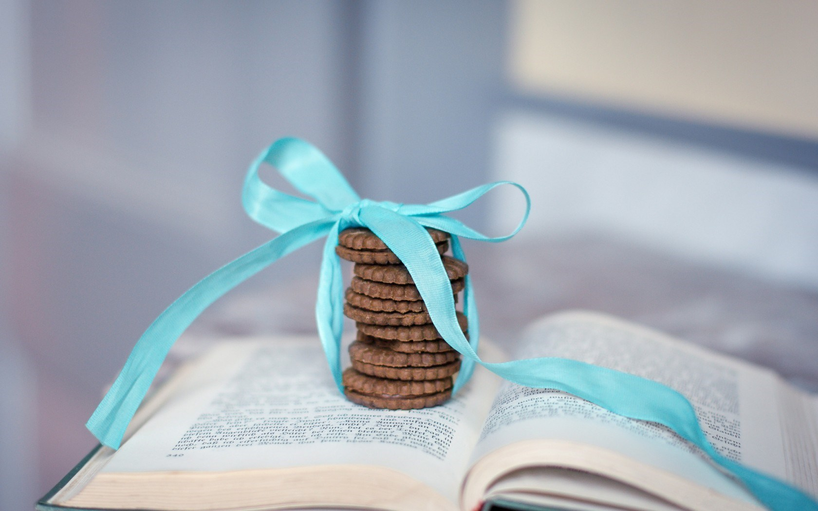 Book Cookies Ribbon Blue Bow