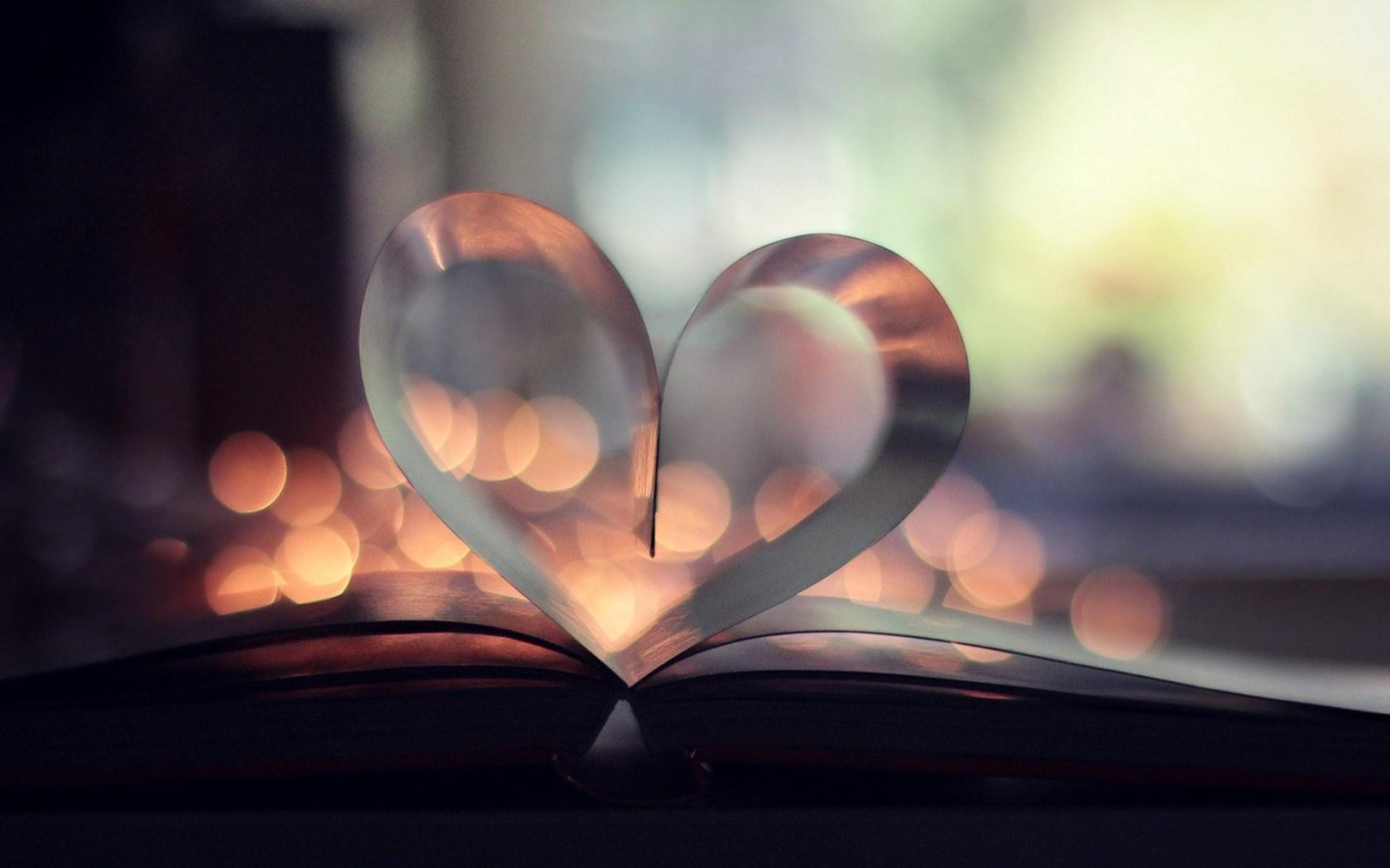 Book Heart Love Bokeh Lights HD Wallpaper
