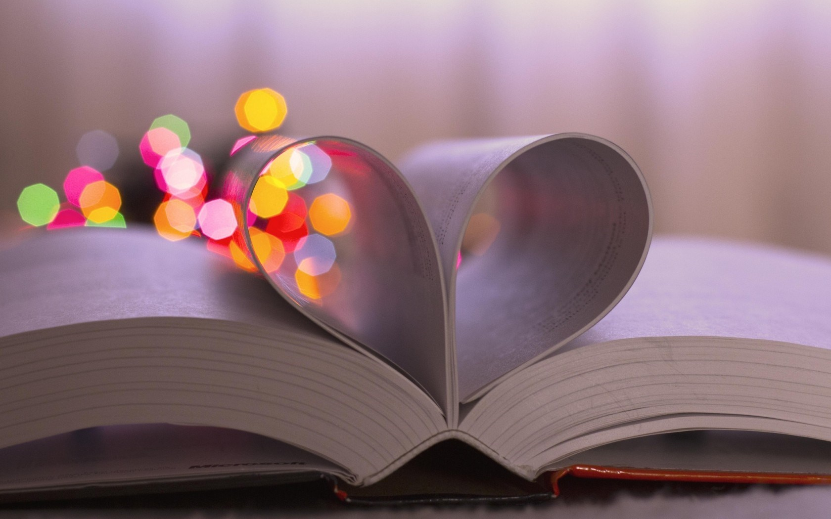 Book Pages Heart Bokeh Lights