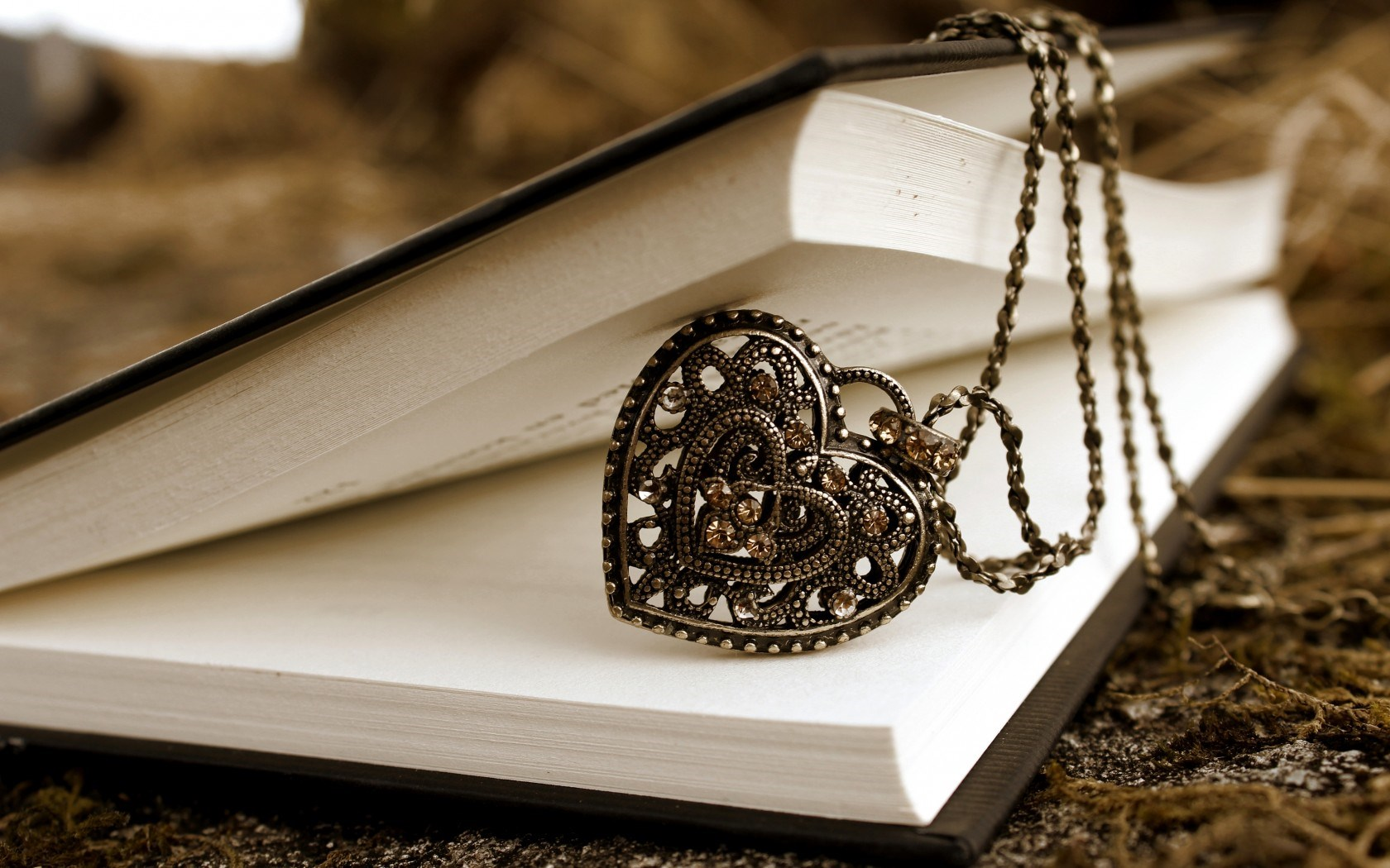 Book Pendant Heart Chain