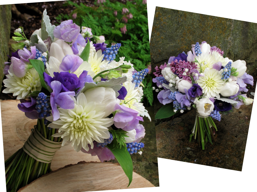 white, lavender and purple bridal bouquet