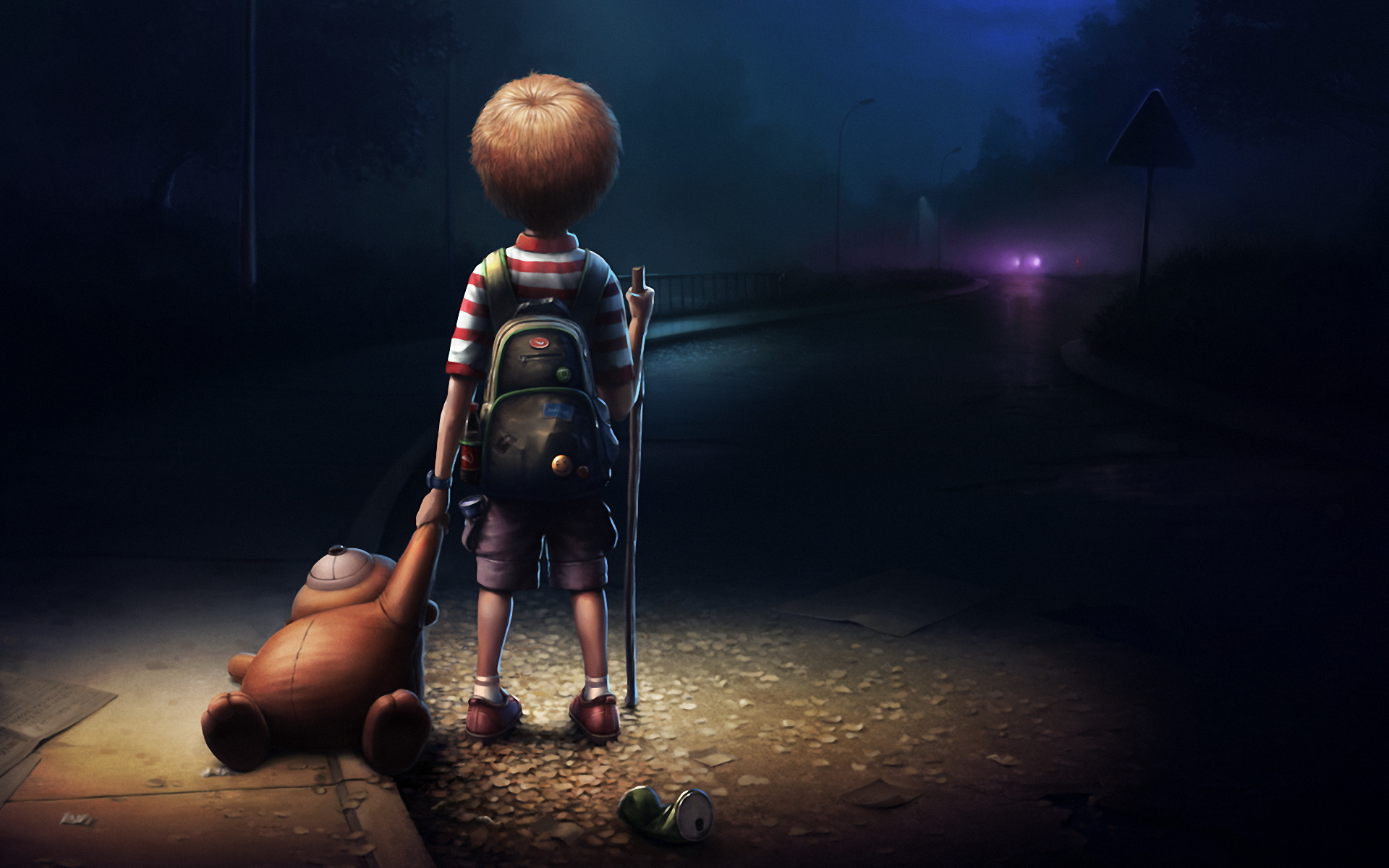 Boy alone darkness