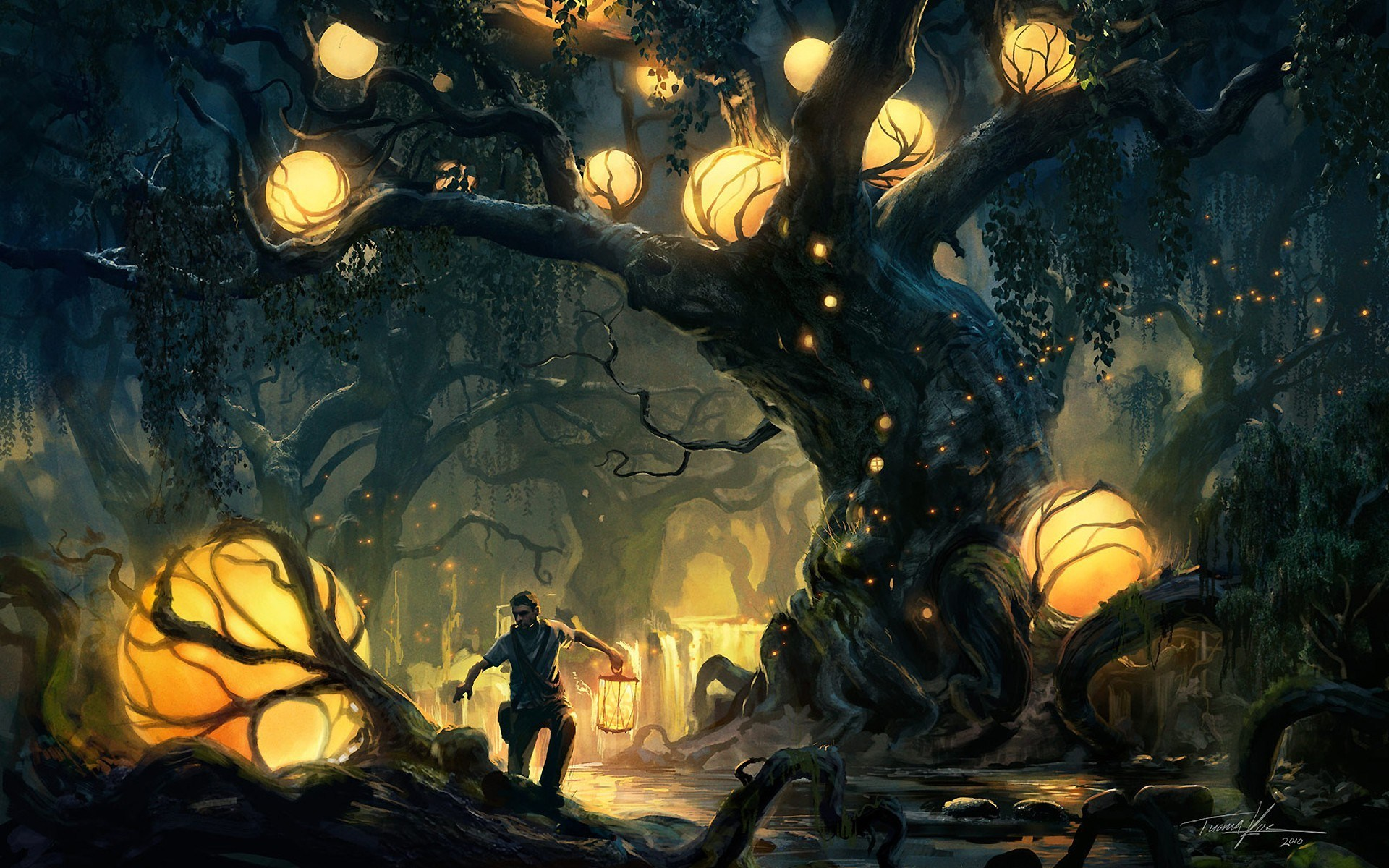 Boy Forest Trees Lights Artwork